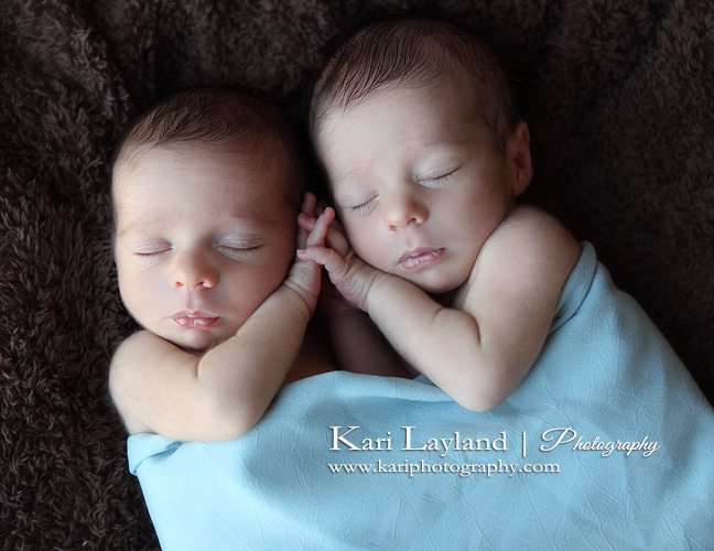 Twin boys sleeping and holding hands portrait mn newborn twin photography