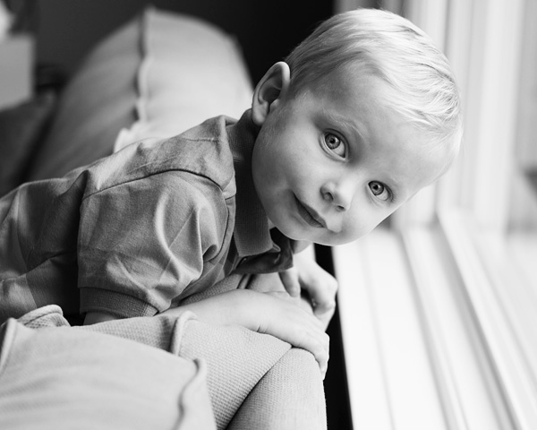 black and white child portrait
