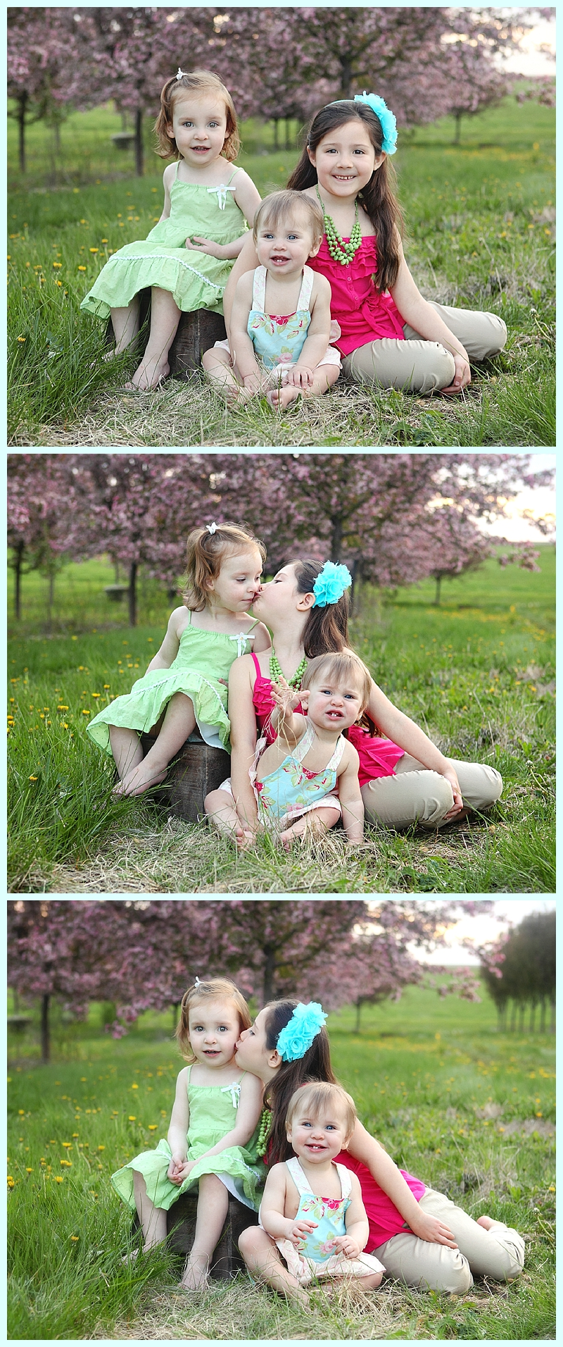 My 3 girls portrait in front of MN spring blossoms.