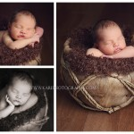 Newborn photos with unique basket taken in studio by Kari Layland in Cottage Grove Minnesota